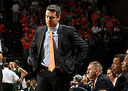 Nov. 12, 2010; Charlottesville, VA, USA;  Virginia head coach Tony Bennett reacts to a call during the game against William & Mary at the John Paul Jones Arena.  Mandatory Credit: Andrew Shurtleff