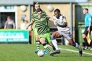 Forest Green Rovers Jack Aitchison(29), on loan from Celtic and Colchester United's Ryan Jackson(2) during the EFL Sky Bet League 2 match between Forest Green Rovers and Colchester United at the New Lawn, Forest Green, United Kingdom on 14 September 2019.