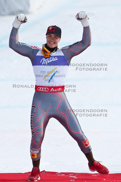 12-02-2011 SKIEN: FIS ALPINE WORLD CHAMPIONSSHIP: GARMISCH PARTENKIRCHEN<br /> Gold Medal and World Champion Erik Guay (CAN) during men's Downhill<br /> **NETHERLANDS ONLY**<br /> ©2011-WWW.FOTOHOOGENDOORN.NL/EXPA/ J. Groder