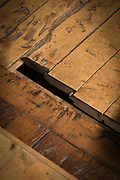 Close up of planks in wooden floor construction detail, Church of Santa Maria on Chiloe Island, Chile
