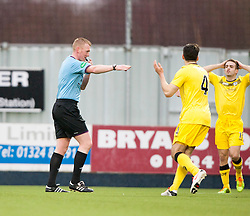 Ref Colvin points to the penalty spot for Falkirk's penalty.<br /> Falkirk 1 v 0 Queen of the South, Scottish Championship game today at the Falkirk Stadium.<br /> © Michael Schofield.