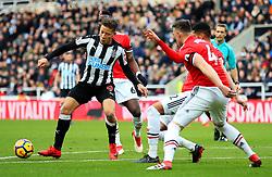 Dwight Gayle of Newcastle United attacks - Mandatory by-line: Matt McNulty/JMP - 11/02/2018 - FOOTBALL - St James Park - Newcastle upon Tyne, England - Newcastle United v Manchester United - Premier League