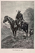 Tom Marix on horseback from the book ' Mistress Branican ' by Jules Verne, illustrated by Leon Benett. The story begins in the United States, where the heroine, Mistress Branican, suffers a mental breakdown after the death by drowning of her young son. On recovering, she learns that her husband, Captain Branican, has been reported lost at sea. Having acquired a fortune, she is able to launch an expedition to search for her husband, who she is convinced is still alive. She leads the expedition herself and trail leads her into the Australian hinterland. Mistress Branican (French: Mistress Branican, 1891) is an adventure novel written by Jules Verne and based on Colonel Peter Egerton Warburton and Ernest Giles accounts of their journeys across the Western Australian deserts, and inspired by the search launched by Lady Franklin when her husband Sir John Franklin was reported lost in the Northwest Passage. Translated by A. Estoclet, Published in New York, Cassell Pub. Co. 1891.