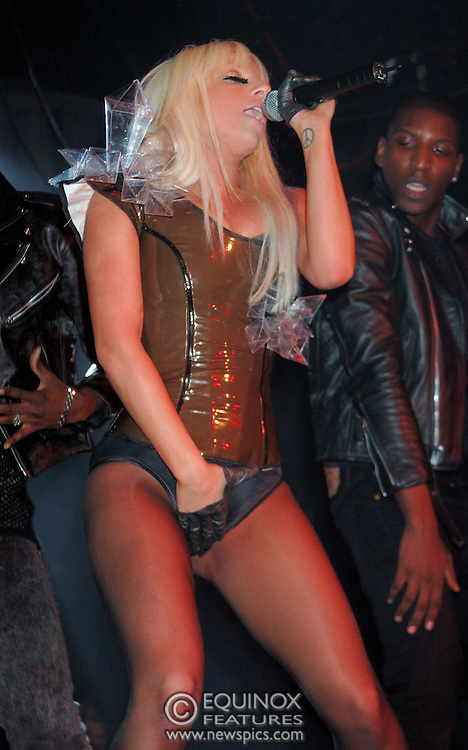 London, United Kingdom - 18 January 2009.Singer songwriter Lady GaGa, Joanne Germanotta performing at gay club G-A-Y, Heaven nightclub, Charing Cross, London, UK..(photo by: EDWARD HIRST/EQUINOXFEATURES.COM)..RESTRICTIONS: No Merchandising, Pictures should be used in the context of Lady GaGa performing, Other uses should be approved by Polydor Records...Picture Data:.Photographer: EDWARD HIRST.Copyright: ©2009 Equinox Licensing Ltd. - +448700 780000.Contact: Equinox Features.Date Taken: 20090118.Time Taken: 020143+0000.www.newspics.com