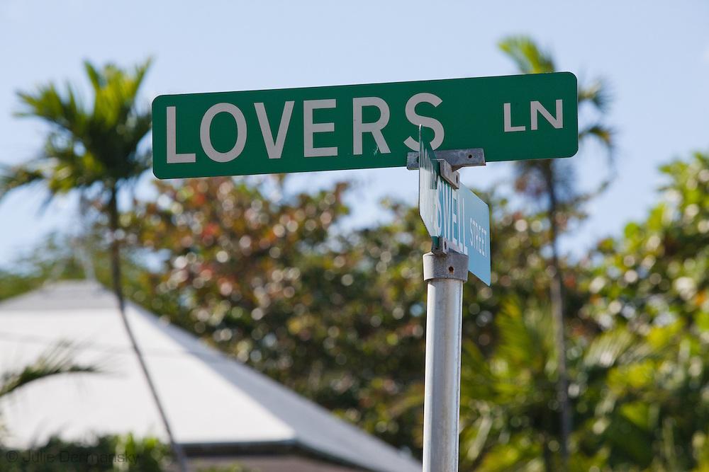 Lovers Lane street sign in downtown Nassua, Bahamas.
