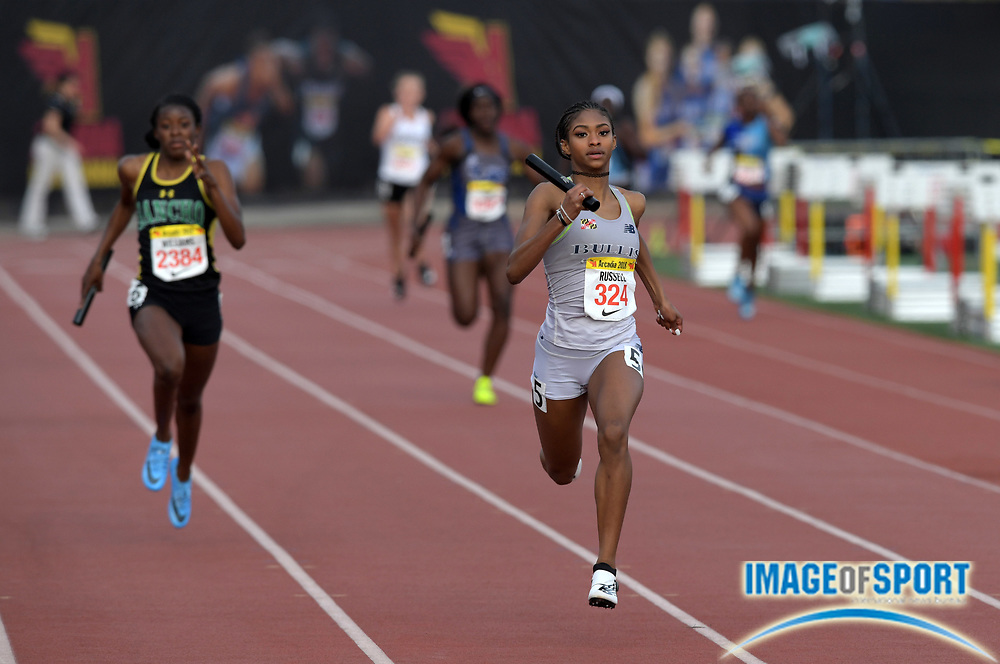 Masai Russell runs the anchor leg on the Bullis (Md.) girls 4 x 200m relay that won in 1:36.18 during the 51st Arcadia Invitational in Arcadia, Calif., Friday, April 6, 2018.