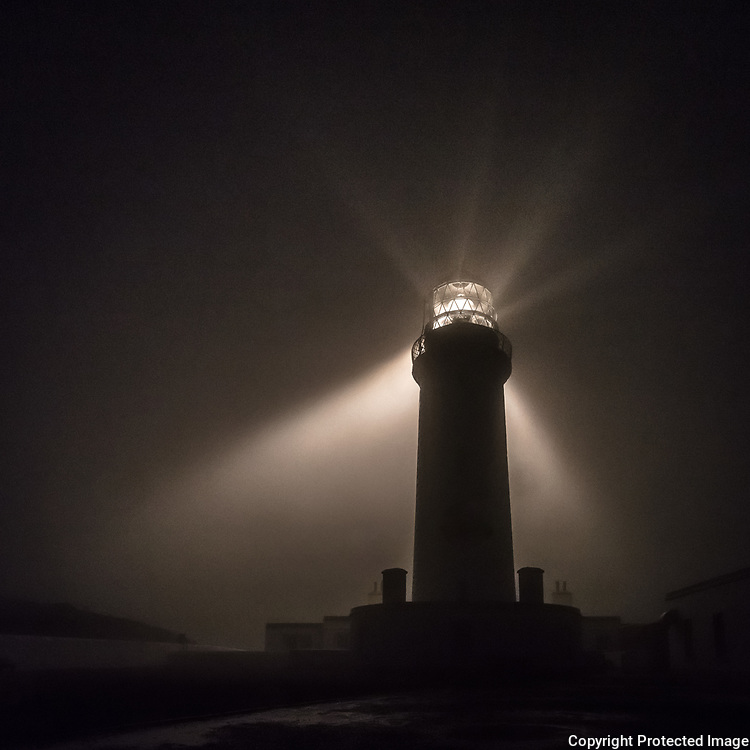 Mull of Galloway Lighthouse in a rain storm, Dumfries and Galloway, Scotland.