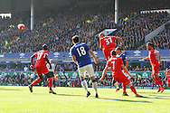 Martin Skrtel of Liverpool heads clear. Barclays Premier League match, Everton v Liverpool at Goodison Park in Liverpool on Sunday 4th October 2015.<br /> pic by Chris Stading, Andrew Orchard sports photography.