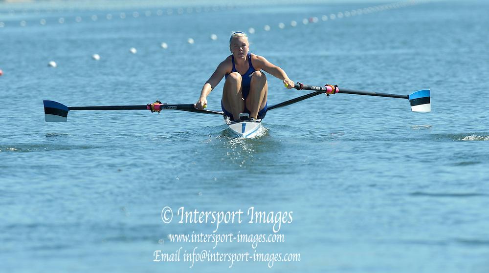 Varese,  ITALY. 2012 FISA European Championships, Lake Varese Regatta Course. ..EST W1X Kaisa PAJUSALU,  at the start for her heat of the Women's Single Sculls...13:14:15  Friday  14/09/2012 .....[Mandatory Credit Peter Spurrier:  Intersport Images]  ..2012 European Rowing Championships Rowing, European,  2012 010793.jpg.....