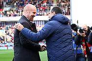 Burnley Manager Sean Dyce andd Everton Manager Roberto Martinez shake hands prior to kick off. Barclays Premier league match, Burnley v Everton at Turf Moor in Burnley, Lancs on Sunday 26th October 2014.<br /> pic by Chris Stading, Andrew Orchard sports photography.