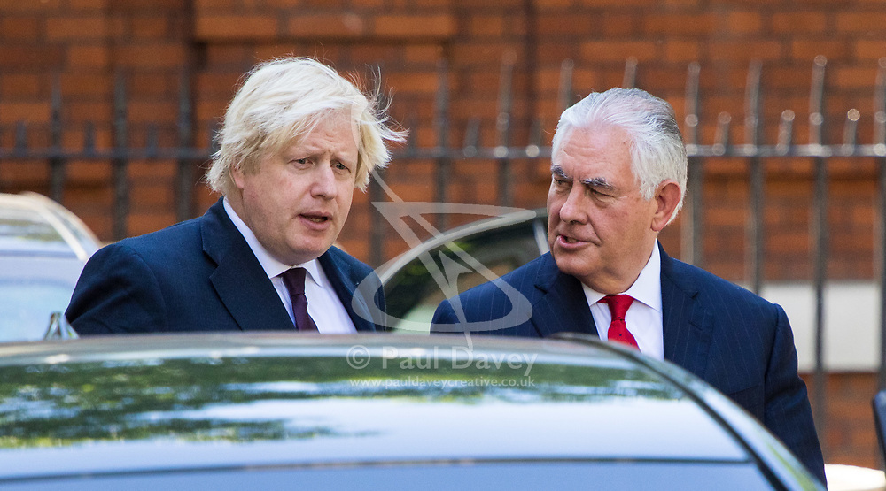London, May 26th 2017. British Foreign Secretary Boris Johnson bids farewell to the US Secretary of State Rex Tillerson meeting at his official London residence. The visit comes in the wake of British fury over the leaking of sensitive images related to the Manchester bombing by US security services to the New York Times.