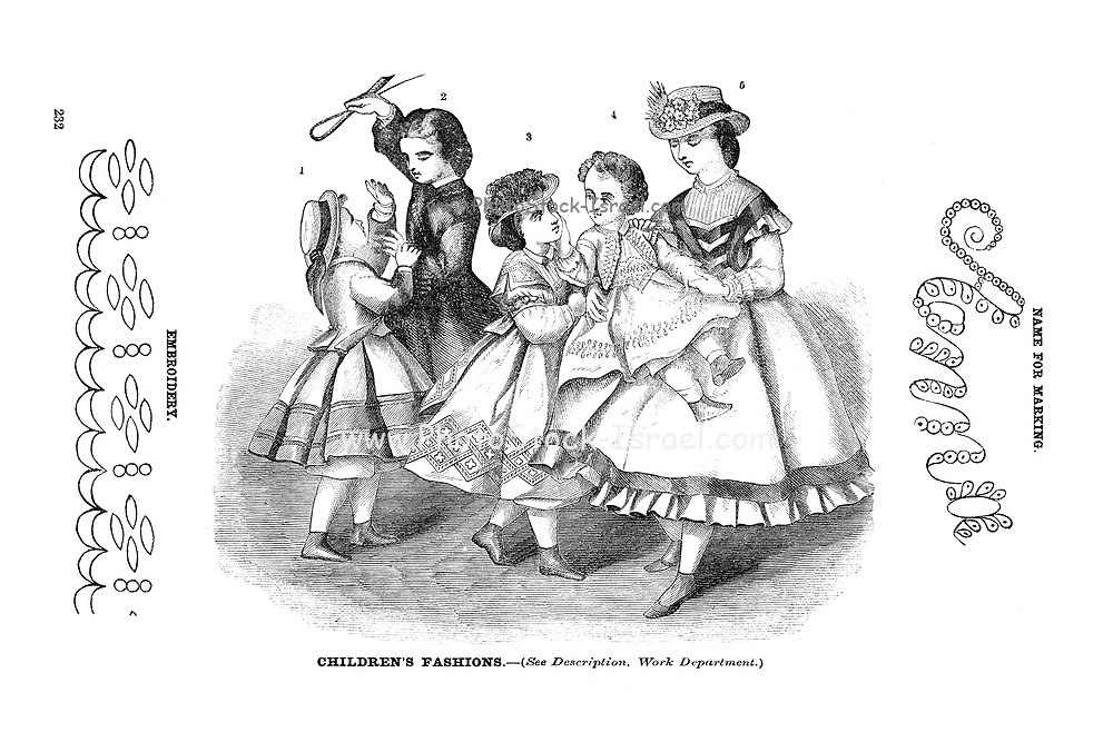 Godey's children's Fashion for March 1864 from Godey's Lady's Book and Magazine, March 1864, Philadelphia, Louis A. Godey, Sarah Josepha Hale,