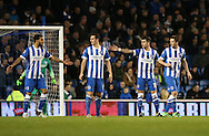 Brighton central defender, Connor Goldson (17), Brighton central defender, Lewis Dunk (5), Brighton central midfielder, Dale Stephens (6), Brighton defender Liam Ridgewell (33) during the Sky Bet Championship match between Brighton and Hove Albion and Brentford at the American Express Community Stadium, Brighton and Hove, England on 5 February 2016.