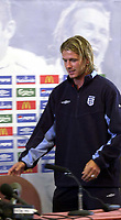 Photo: Richard Lane.<br />England Press conference at Four Lakes Hotel, Maldon Essex. 18/08/2003.<br />England captain, David Beckham.