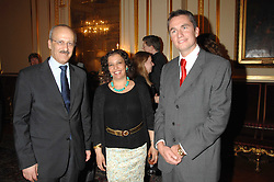Left to right, the Egyptian Ambassador HE GEHAD MADI, his wife MRS GEHAD MADI and ROWAN SOMERVILLE at a party to celebrate the publication of The End of Sleep by Rowan Somerville held at the Egyptian Embassy, London on 27th March 2008.<br /><br />NON EXCLUSIVE - WORLD RIGHTS