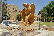 Flying together for Peace Statue in the courtyard of The Crusaders Citadel the Knights Hall in Acre,Israe