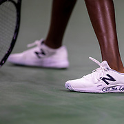 2019 US Open Tennis Tournament- Day Four.  Coco Gauff of the United States with 'Call me Coco' on her tennis shoes during her match against Time Babos of Hungary in the Women's Singles Round Two match on Louis Armstrong Stadium at the 2019 US Open Tennis Tournament at the USTA Billie Jean King National Tennis Center on August 29th, 2019 in Flushing, Queens, New York City.  (Photo by Tim Clayton/Corbis via Getty Images)