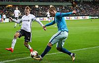TRONDHEIM, NORWAY - NOVEMBER 02, 2017. UEFA Europa League, round 4: Rosenborg BK (Norway) 1-1 Zenit St Petersburg (Russia). Rosenborg's Morten Konradsen (L) and Zenit St Petersburg's Aleksandr Kokorin (R).