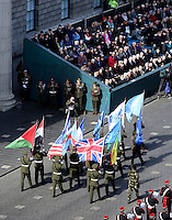 Easter Sunday 1916 Parade O'Connell Street.  Military personel march past the GPO.  Picture;  GERRY MOONEY.  27/3/16