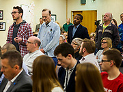 11 APRIL 2019 - AMES, IOWA: People line up to ask Rep Eric Swalwell (D-CA) questions during his town hall meeting on the campus of Iowa State University in Ames. Swalwell represents California's 15th District but is originally from Algona, Iowa. His appearance in Ames Thursday was his first appearance in Iowa since announcing his candidacy to be the Democratic nominee for the US Presidency on April 8, although he made about 20 trips to Iowa since the 2016 election. Iowa traditionally hosts the the first election event of the presidential election cycle. The Iowa Caucuses will be on Feb. 3, 2020.         PHOTO BY JACK KURTZ