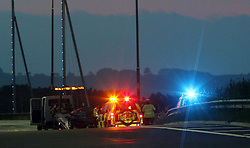 Portsmouth,Hampshire Monday 30th May 2016 Police had to close two lanes of the northbound carriageway of M275 between M275 and M27 interchange due to an overturned BMW 325 Convertible rolling over  before ending up on it's roof. The high power vehicle flipped just before 4am this morning. Police and Highways England closed off two lanes of the M275 and the link road to the M27 to assist with recovery the vehicle that had rolled over. Recovery Specialists from Boarhunt winched the vehicle that was seriously damaged when rolling over back on to it's four wheels,then winched the convertible on to the back of a flat bed truck.  <br /> The condition of the driver or the state of his injuries is not presently  known.<br /> <br /> All lanes of the Northbound carriage shortly reopened just before 5am.@UKNIP