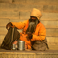 Asia, India, Uttar Pradesh, Varanasi. Daily life along the ghats in the holy city of Varanasi on the Ganges River.