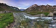 A panoramic view of Pian del Nivolet, an awesome plateau at more than 2600 meters of altitude in the heart of the Gran Paradiso National Park, the largest and oldest protected area of Italy. Taken at the beginning of summer 2009, this is stitched from 8 vertical frames.
