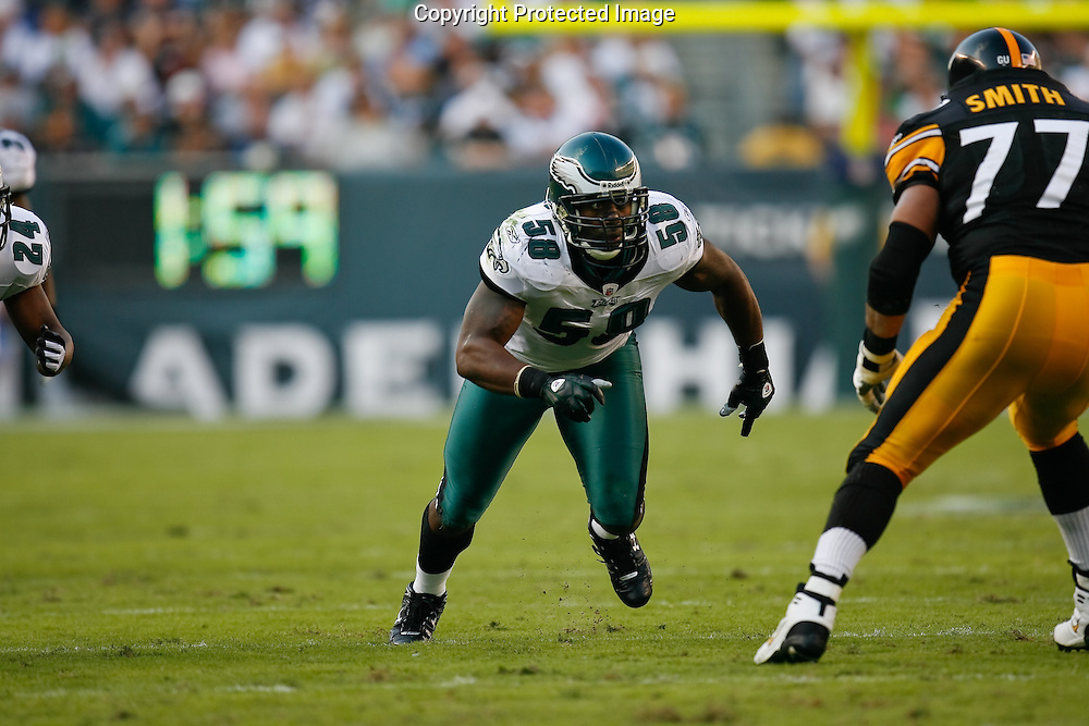 21 Sept 2008: Philadelphia Eagles defensive end Trent Cole #58 moves in on Pittsburgh Steelers offensive tackle Marvel Smith #77 during the game against the Pittsburgh Steelers on September 21st, 2008.  The Eagles won 15-6 at Lincoln Financial Field in Philadelphia Pennsylvania.