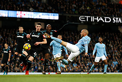 Manchester City's David Silva scores his side's second goal of the game during the Premier League match at the Etihad Stadium, Manchester.