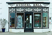 Traditional shop front of pharmacy Medical Hall in Aberdyfi, Aberdovey, Snowdonia, Wales