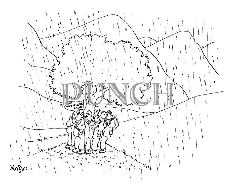 (A group of ramblers carrying a sign reading 'The Adventure Club' huddles under a tree in a rainstorm)