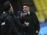 Football - 2020 / 2021 Sky Bet Championship - Watford vs Derby County - Vicarage Road<br /> <br /> Xisco Munoz - Watford  Manager / Head coach agues with the Watford bench<br /> <br /> Credit : COLORSPORT/ANDREW COWIE