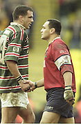 Watford. Great Britain. <br /> Martin JOHNSON shakes the hand of Junior PARAMORE after the final whistle of the Heineken Cup Semi Final; Gloucester Rugby vs Leicester Tigers. Vicarage Road Stadium, Hertfordshire.England.  <br /> <br /> [Mandatory Credit, Peter Spurrier/ Intersport Images].