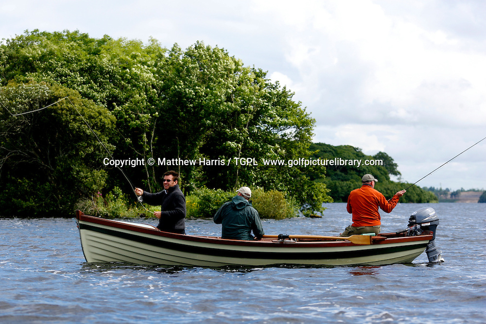 Nick FALDO (ENG) the 2008 European Ryder Cup captain out  fly fishing on Loch Erne while on a visit to Loch Erne Golf Resort, a course he is designing near Enniskillen in Northern Ireland.