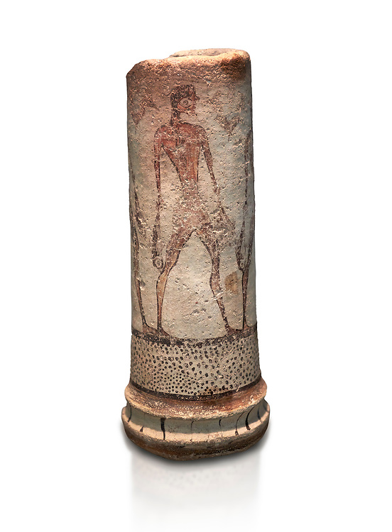 Cycladic cylindrical vase illustrated with a fisherman (1600 BC) , Phylakopi III, Melos. National Archaeological Museum Athens. Cat No 5782.  White background.<br /> <br /> <br /> The vase has a procession of 4 fishermen illustrated on iy running all the way round it. .<br /> <br /> If you prefer to buy from our ALAMY PHOTO LIBRARY  Collection visit : https://www.alamy.com/portfolio/paul-williams-funkystock/cycladic-art-artefacts.html Type into the LOWER SEARCH WITHIN GALLERY box to refine search by adding background colour, place, museum etc<br /> <br /> Visit our CYCLADIC CIVILISATIONS PHOTO COLLECTIONS for more photos to download or buy as wall art prints https://funkystock.photoshelter.com/gallery-collection/Cycladic-civilisation-Ancient-Greek-Artefacts-art-Photos-Pictures-Images/C0000CmevVvnC.XU