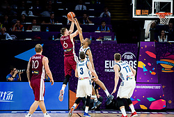 Kristaps Porzingis of Latvia blocked by Anthony Randolph of Slovenia during basketball match between National Teams of Slovenia and Latvia at Day 13 in Round of 16 of the FIBA EuroBasket 2017 at Sinan Erdem Dome in Istanbul, Turkey on September 12, 2017. Photo by Vid Ponikvar / Sportida