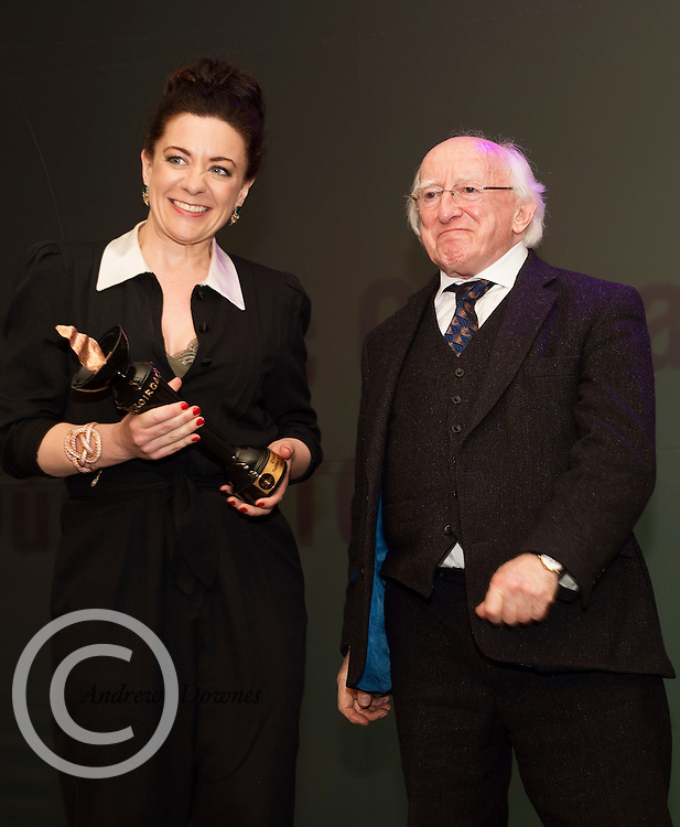 """report free. TG4, the Irish language television station, was presented with the Lifetime Achievement Award by President Michael D. Higgins at the Oireachtas Media Awards. Other winners on the night included Bláthnaid Ní Chofaigh for her weekly RTÉ Raidió na Gaeltachta show 'Bláthnaid Libh', Stíofán Ó Fearail, from Gaeltacht band Seo Linn and Alan Titley, Irish Times columnist.<br /> Best Radio Broadcaster went to Raidio na Gaeltachta's Rónán Mac Aodha Bhuí whilst Síle Nic Chonaonaigh took home the award for Best Television Broadcaster. Galway's Tara Breathnach won Best Actor for her role as the mother of an autistic boy in Maidhm.<br /> The annual awards, which took place in the Salthill Hotel, Galway, celebrate achievement and excellence in the Irish language media sector and honour actors, journalists, presenters, programme makers and others who have excelled in their contributions in the last year. A new category for Best Short Film was introduced this year and was won by Meangadh Fíbín for their film Snámh in aghaidh Easa.<br /> """"It's a huge honour to have the President present the awards, particularly as TG4 celebrates its 20th anniversary this year"""" said Liam Ó Maolaodha, Director of an tOireachtas. """"President Higgins played an integral part in the founding of the station and has always been an advocate for both Irish language media and the arts. These awards are one of the highlights of the Irish language media sector's calendar and reflect and celebrate the thriving industry that it's become,"""" he added.<br /> Independent filmmakers Magamedia took home the award for Best Television Series for EIPIC as well as Best Television Programme for Deoch an Dorais. The documentary tells the true story of Irishman Mike Malloy whosurvived over 20 attempts on his life in depression-era New York.<br /> Photos caption:<br /> Pictured at the Oireachtas Media Awards in the Salthill Hotel Galway was (winners of  Síle Nic Chonaonaigh took home the award for Best Television"""