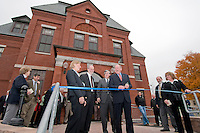 "Diane Lane Clerk Laconia District Court, Judge Edwin W. Kelly, Chief Justice John T Broderick, Jr., retired Judge David O. Huot  and (far right) Wanda Loanes Clerk Laconia Family Court enjoy a ""good day"" on the steps of District Court for the ribbon cutting during the Laconia Courthouse Dedication Ceremony Friday morning.  (Karen Bobotas/for the Laconia Daily Sun)"