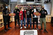 """Muay Thai / K1: Day of Destruction XIV, Wiegen, Hamburg, 11.12.2020<br /> v.l: Gerardo """"Coco"""" Atti (GER), Kim Jensen (DEN), I;C_Offizieller, Promoter Ralf Stege, Niclas R Larsen (DEN) und Carsten """"The Lion"""" Ringler (GER)<br /> © Torsten Helmke"""