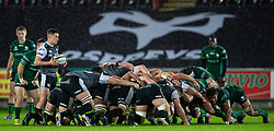 Matthew Aubrey of Ospreys waits to put in to the scrum<br /> <br /> Photographer Simon King/Replay Images<br /> <br /> Guinness PRO14 Round 6 - Ospreys v Connacht - Saturday 2nd November 2019 - Liberty Stadium - Swansea<br /> <br /> World Copyright © Replay Images . All rights reserved. info@replayimages.co.uk - http://replayimages.co.uk