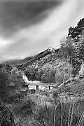 Black and white processing of an original colour image of the upper reaches of Glen Affric, in the Scottish Highlands.