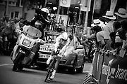 Alberto Contador tijdens de proloog van de Tour de France in Rotterdam.<br /> <br /> Alberto Contador at the prologue of the Tour de France in Rotterdam.