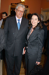 DR & MRS GERT RUDOLPH FLICK he is the German multi-millionaire at a party to celebrate the publication of Andrew Robert's new book 'Waterloo: Napoleon's Last Gamble' and the launch of the paperback version of Leonie Fried's book 'Catherine de Medici' held at the English-Speaking Union, Dartmouth House, 37 Charles Street, London W1 on 8th February 2005.<br />