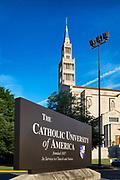 The Catholic University of America campus with National Shrine Basilica in background, Washington DC, USA