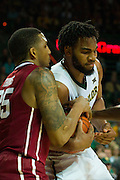 WACO, TX - JANUARY 24: Rico Gathers #2 of the Baylor Bears grabs a rebound against the Oklahoma Sooners on January 24, 2015 at the Ferrell Center in Waco, Texas.  (Photo by Cooper Neill/Getty Images) *** Local Caption *** Rico Gathers