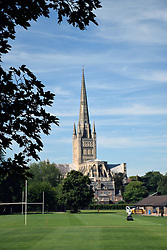 Norwich cathedral with Norwich School playing fields in the foreground, Norfolk 2016