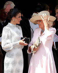 (left to right) Queen Letizia of Spain talks with the Duchess of Cornwall, during the annual Order of the Garter Service at St George's Chapel, Windsor Castle.