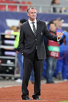ROMANIA, Bucharest : Romania'ROMANIA, Bucharest : Northern Ireland's coach Michael O'Neill during the Euro 2016 Group F qualifying football match Romania vs Northern Ireland in Bucharest, Romania on November 14, 2014.s (L) and Northern Ireland's (R) vie for the ball during the Euro 2016 Group F qualifying football match Romania vs Northern Ireland in Bucharest, Romania on November 14, 2014.