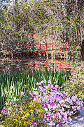 Red bridge over Schoolhouse Pond at Magnolia Plantation April 10, 2014 in Charleston, SC.