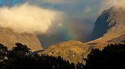 Rainbow, autumn on Ben Nevis, highest peak in Scotland & United Kingdom, The Highlands, Scotland.
